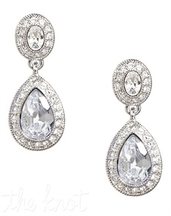Teardrop shaped crystal earrings feature pave crystals.