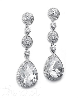 Silver and rhodium-plated earrings feature cubic zirconia stones.