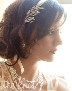 Silver feather brooch can be worn alone or with satin ribbon as a headband. Ribbon available in various colors.