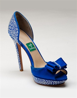 Cobalt blue platform sandal features Swarovski crystals and bow detail. Also customizable in various colors, fabrics, and heel heights.