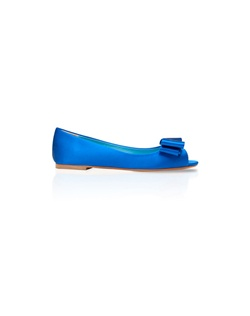 Bright blue open-toe wedge features bow detail. Also customizable in various colors, fabrics, and heel heights.