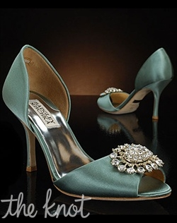 Seafoam D'Orsay shoe features silver brooch.