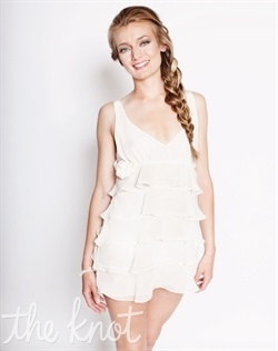 Ivory chiffon chemise features silk satin ties and rosettes under bust. S, M, L