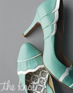 Leather pumps available in robin's egg blue. Sizes 6 - 11