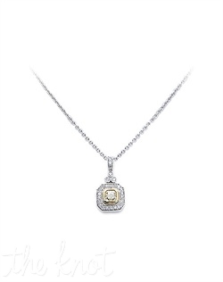 "18k white gold necklace features 1"" princess cut natural light yellow diamond pendant surrounded by white diamonds. Diamond TW: .92; 17"" length. Rental jewelry."