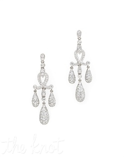 "18k white gold crushed diamond drop earrings feature scroll and pave details. Diamond TW: 2.53; 1-3/4"" length; 1/2"" width. Rental jewelry."
