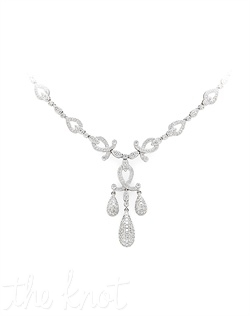 18k white gold diamond necklace features chandelier style pendant with pave diamonds drops and woven pave diamond links across front. Diamond TW: 3.82; 17&quot; necklace length; 1-3/4&quot; center length; 3/4&quot; center width. Rental jewelry.