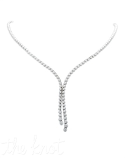 "14k white gold necklace features 58 round diamonds in 3-prong settings. Diamond TW: 2.00; 16.5"" length; 1.75"" end length. Rental jewelry."