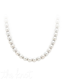 "18k white gold necklace features pearls and diamond barrels. Diamond TW: 1.90; 17"" length; 5/16"" pearl width. Rental jewelry."