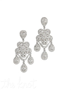 18k white gold diamond chandelier earrings. Diamond TW: 2.39; 2-1/8&quot; length. Rental jewelry.