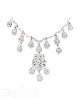 "18k white gold necklace features pear-shaped drops and center chandelier ornament. Diamond TW: 4.31; 17"" length; 2-5/8"" length; 2-5/8"" center length; 1"" center width. Rental jewelry."