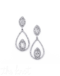 "18k white gold drop earrings feature marquis-shaped diamond affixed at bottom of larger teardrop loop. Diamond TW: 1.76; 1-5/16"" length. Rental jewelry."