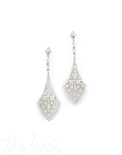 "18k white gold diamond chandelier earrings feature milgrain edges and pave diamonds. Diamond TW: .67; 2"" length. Rental jewelry."