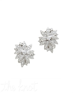 18k white gold diamond cluster earrings feature asymmetric flower shape. Diamond TW: 1.15; 3/4&quot; length; 3/4&quot; width. Rental jewelry.