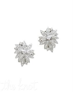 """18k white gold diamond cluster earrings feature asymmetric flower shape. Diamond TW: 1.15; 3/4"""" length; 3/4"""" width. Rental jewelry."""