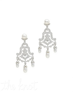 18k vintage style white gold chandelier earrings feature pearls, milgrain edging, and pave diamonds. Diamond TW: .66; 1-1/2&quot; length. Rental jewelry.