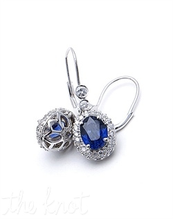 "14k white gold earrings feature diamonds and sapphires. Diamond TW: .8; Sapphire TW: 3.07; 1"" length. Rental jewelry."