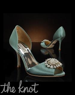 Seafoam D'Orsay shoe features silver brooch.