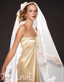 "One-tier tulle veil features Swarovski Crystals and Royal French Chantilly Lace. Various tulle and crystal color options available. 40"", 55"", and Cathedral lengths available."