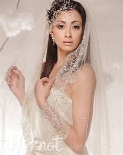 "Ballet-length, tulle veil features French Chantilly lace, Swarovski crystals, and one tier. 55"" and Cathedral lengths available. Tulle available in Diamond White or Ivory. Chantilly Lace available in Gold/Silver or Ivory/Silver."