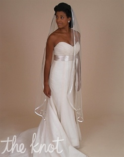 "Ballet-length, tulle veil features 1/2"" flat silk ribbon. 35"", 55"", or Cathedral lengths available. Tulle available in White, Diamond White or Ivory. Ribbon available in White, Diamond White, Ivory, Tan or Champagne."