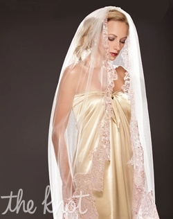 "Ballet-length, tulle veil features Pink and Gold French Chantilly lace. 55"" or cathedral lengths available. Tulle available in Diamond White or Ivory."