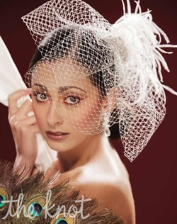 Birdcage veil features Russian Tulle, Ostrich feathers, crystals, and comb. Available in White or Ivory.