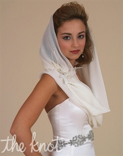 Vintage wrap available in Silk Chiffon or Silk Georgette. Available in White, Diamond White, Ivory, Champagne, or Black. Flower pin sold separately.