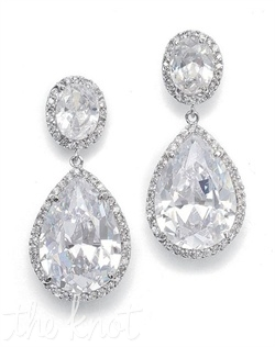 Earrings feature pear shaped cubic zirconias, surrounded by pave accents.