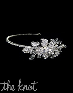 Headband features pave leaves with Austrian and Swarovski crystals.