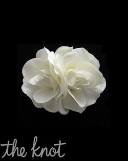 Hair flower features two soft ivory gardenias in a cluster design.