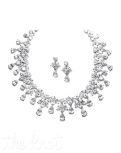 Jewelry set features multi-shaped cubic zirconias and pear-shaped drops.