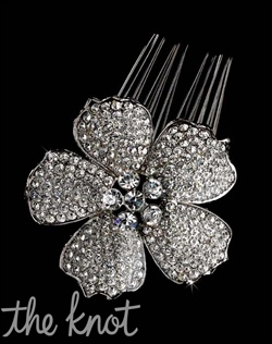Comb features flower with pave encrusted petals.