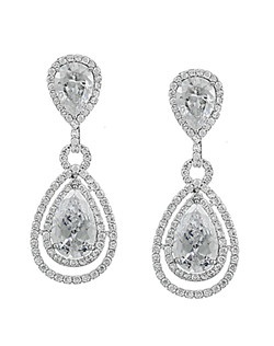 Earrings feature cubic zirconia stones, surrounded by pave design.