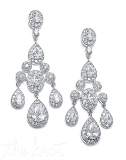 Earrings feature cubic zirconias surrounded by pave accents.