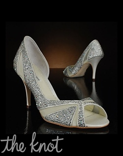 Open-toe pump is covered in crystals.