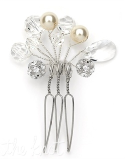 Hairpin features freshwater pearls, rhinestones and Swarovski crystals.