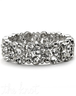 Silver-plated bracelet features rhinestones.