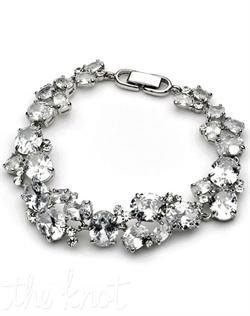 Bracelet features multiple sizes of cubic zirconias.
