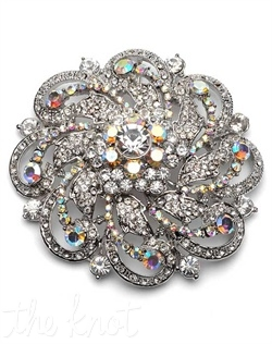 Rhodium plated brooch features clear and Aurora Borealis rhinestones.