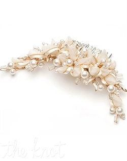 Gold-plated comb features sheer organza ribbon accented with metallic gold and ivory faux pearls.