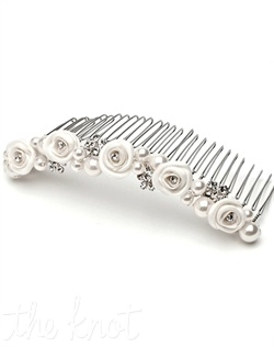 Comb features tulle flowers, white or ivory faux pearls, and rhinestones.
