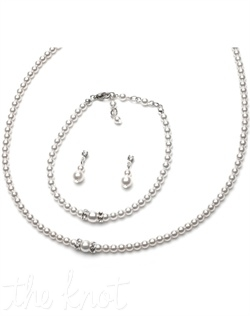 Necklace and earring set feature white or ivory glass pearls and rhinestone encrusted rondelles.