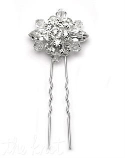Hairpin features Swarovski crystals and rhinestones.