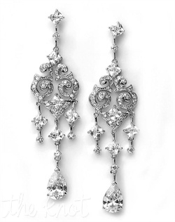 Sterling silver-plated earrings feature cubic zirconia stones.