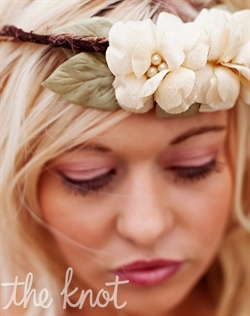 Halo or headband features handmade silk flowers and leaves, pearls and velvet and bark wrapped wire. Available in champagne/beige or ivory. 19&quot; headband with 3-1/2&quot; flowers