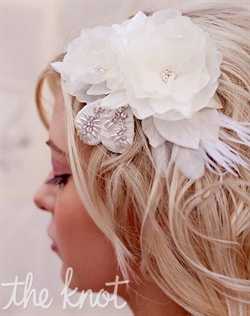 "Hair clip features handmade silk flowers and leaves, Swarovski crystals, vintage rice pearls and feathers. Available in ivory or bridal white. 4"" x 3"""