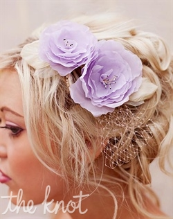 "Headpiece features dyed silk flowers and leaves, vintage pearls and veiling. Available in lavender with beige, ivory with beige or all ivory. 5"" x 3"""