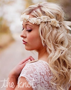 Ivory halo/headband features vintage lace on silk wrapped pearls and silk flower ruffles with rhinestone and beaded centers.