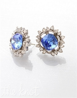 Blue gem earrings feature Swarovski crystals.